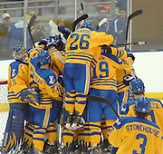 The Lake Superior State Lakers swarm goalie Kevin Kapalka after defeating the Ohio State Buckeyes in round one of the CCHA playoffs at Taffy Abel Arena.
