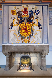 Fireplace at King's Outer Hall in Royal Palace at Stirling Castle in Stirling, Scotland, United Kingdom.