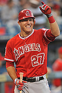 Fox Sports -- Los Angeles Angels center fielder Mike Trout (27) reacts before an at bat against the Kansas City Royals during the first inning at Kauffman Stadium.