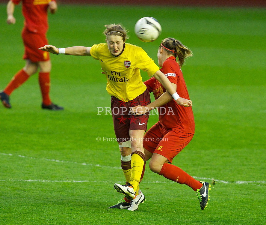 LIVERPOOL, ENGLAND - Friday, April 26, 2013: Arsenal's Ellen White in action against Liverpool during the FA Women's Cup Semi-Final match at Anfield. (Pic by David Rawcliffe/Propaganda)
