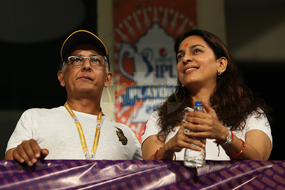 KKR co-owner Juhi Chawla at KKR box during the first qualifier match (QF1) of the Pepsi Indian Premier League Season 2014 between the Kings XI Punjab and the Kolkata Knight Riders held at the Eden Gardens Cricket Stadium, Kolkata, India on the 28th May  2014<br /> <br /> Photo by Saikat Das / IPL / SPORTZPICS<br /> <br /> <br /> <br /> Image use subject to terms and conditions which can be found here:  http://sportzpics.photoshelter.com/gallery/Pepsi-IPL-Image-terms-and-conditions/G00004VW1IVJ.gB0/C0000TScjhBM6ikg