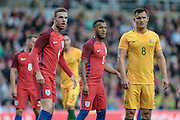 Jordan Henderson (England), Ryan Bertrand (England) and Bailey Wright (Australia) during the Friendly International match match between England and Australia at the Stadium Of Light, Sunderland, England on 27 May 2016. Photo by Mark P Doherty.