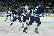KELOWNA, CANADA - APRIL 26: Aaron Hyman #6 of the Seattle Thunderbirds, Tomas Soustal #15 of the Kelowna Rockets, Nolan Volcan #26 of the Seattle Thunderbirds  at the Kelowna Rockets game on April 26, 2017 at Prospera Place in Kelowna, British Columbia, Canada.  (Photo By Cindy Rogers/Nyasa Photography,  *** Local Caption ***