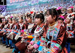 "Villagers sing local songs of the Dong ethnic group at Meilin Village in Meilin Township under Dong Autonomous County of Sanjiang, south China's Guangxi Zhuang Autonomous Region, March 10, 2016. People of Dong ethnic group attend a local song festival to greet the coming of Er Yue Er, or the second day of the second month on the Chinese lunar calendar, which falls on March 10 this year. Chinese people call it the day when the ""dragon raises its head"", which means the spring awakens after winter hibernation. EXPA Pictures © 2016, PhotoCredit: EXPA/ Photoshot/ Wu Lianxun<br /> <br /> *****ATTENTION - for AUT, SLO, CRO, SRB, BIH, MAZ, SUI only*****"