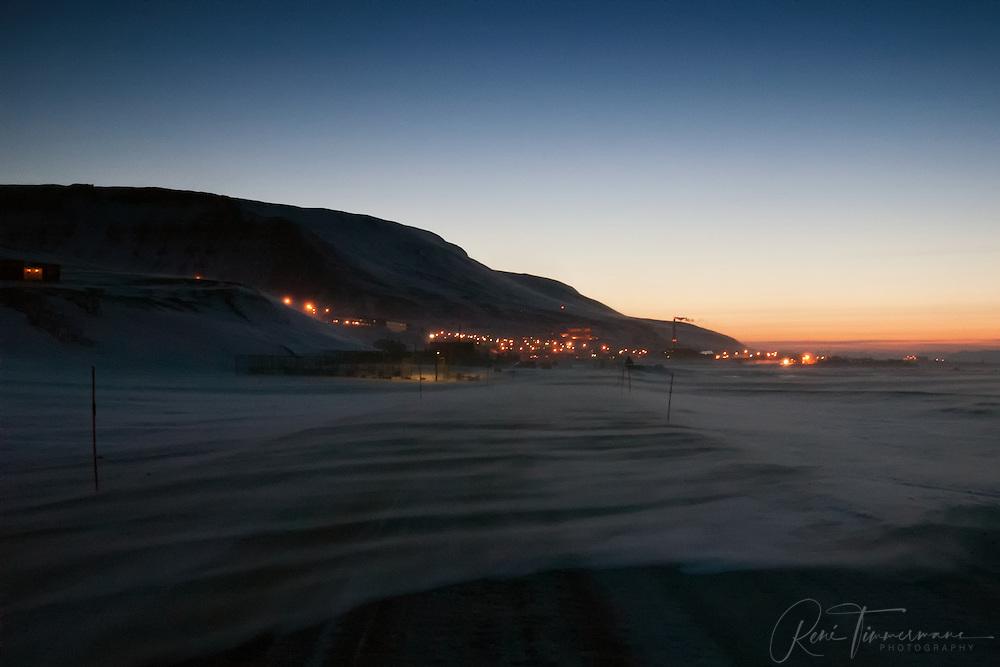 Evening view on Longyearbyen at Svalbard.