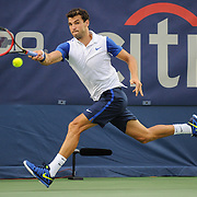 GRIGOR DIMITROV of Bulgaria plays against Steve Johnson of the United States at Day 4 of the Citi Open at the Rock Creek Tennis Center in Washington, D.C. Dimitrov lost in 3 sets.