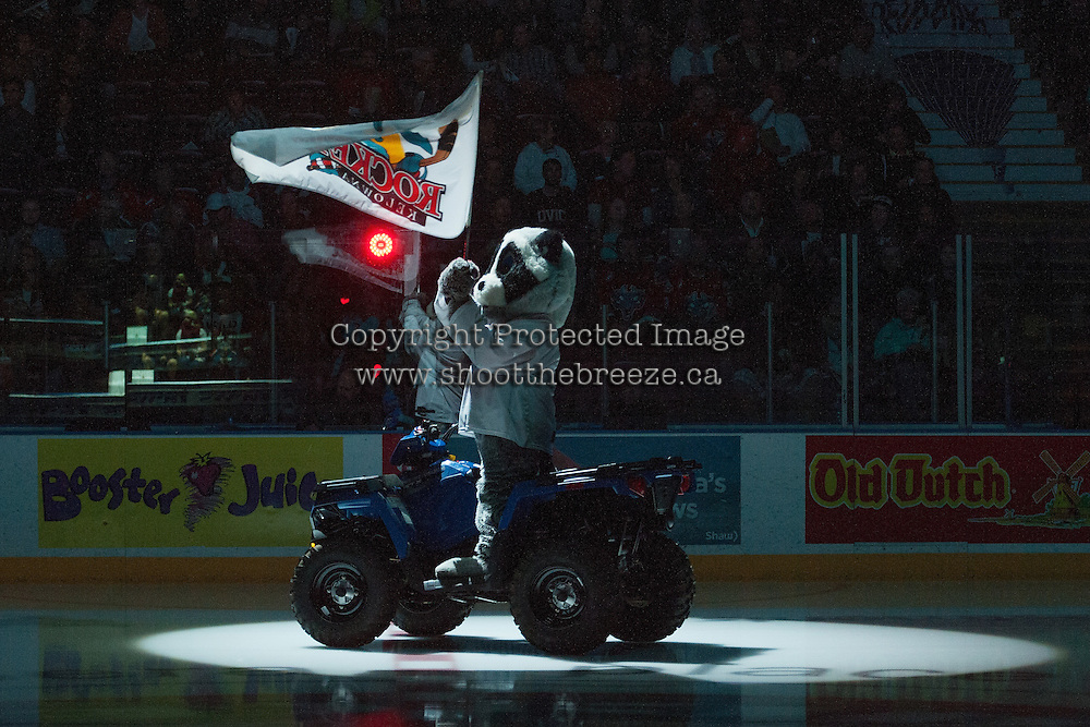 KELOWNA, CANADA - MAY 13: Rocky Racoon, the mascot of the Kelowna Rockets on May 13, 2015 during game 4 of the WHL final series at Prospera Place in Kelowna, British Columbia, Canada.  (Photo by Marissa Baecker/Shoot the Breeze)  *** Local Caption *** Rocky;