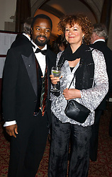 BEN OKRI and ROSEMARY CLUNY at a dinner to announce the 2005 Man Booker Prize held at The Guilhall, City of London on 10th October 2005.<br />