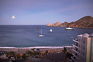 A sunset view of the Cabo San Lucas Harbor in Baja Sur, Mexico.