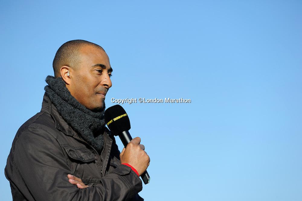 BBC presenter Colin Jackson<br /> The Virgin Money London Marathon 2014<br /> 13 April 2014<br /> Photo: Javier Garcia/Virgin Money London Marathon<br /> media@london-marathon.co.uk