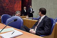 Nederland. Den Haag, 18 februari 2010.<br /> Bos, Balkenende en Rouvoet in vak K. <br /> Spoeddebat in de Tweede Kamer over de ontstane crisissituatie binnen het kabinet over Uruzgan, daags voor de val van het vierde kabinet Balkenende. Een dag later valt het kabinet. kabinetscrisis, vak kabinet, Balkenende IV, Balkenende Vier, politiek, coalitie,