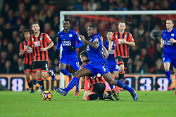 Jack Wilshere of Bournemouth is brought down by Wes Morgan of Leicester City - Mandatory by-line: Jason Brown/JMP - 13/12/2016 - FOOTBALL - Vitality Stadium - London, England - AFC Bournemouth v Leicester City - Premier League