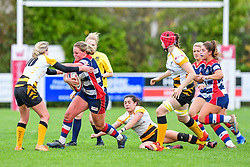 Izzy Noel-Smith of Bristol Ladies is tackled by Tina Veale of Wasps Ladies - Mandatory by-line: Craig Thomas/JMP - 28/10/2017 - RUGBY - Cleve RFC - Bristol, England - Bristol Ladies v Wasps Ladies - Tyrrells Premier 15s