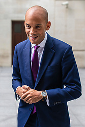 © Licensed to London News Pictures. 19/05/2019. London, UK. Change UK Spokesman Chuka Umunna leaves BBC Broadcasting House after appearing on The Andrew Marr Show. Photo credit: Rob Pinney/LNP