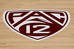 Nov 14, 2011; Stanford CA, USA;  Detailed view of the PAC 12 logo on the court before a preseason NIT game between the Southern Methodist Mustangs and the Colorado State Rams at Maples Pavilion. Colorado State defeated Southern Methodist 75-56. Mandatory Credit: Jason O. Watson-US PRESSWIRE