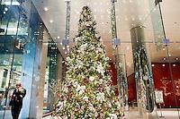 3 Dicembre 2008. New York, NY. Un impiegato conversa al cellulare nella hall di un palazzo sulla 6th avenue &amp; 52nd street. Ogni anno le strade e i negozi di New York City sfoggiano decorazioni natalizie che attraggono turisti da tutto il mondo.<br /> &copy;2008 Gianni Cipriano per Io Donna / Corriere della Sera<br /> cell. +1 646 465 2168 (USA)<br /> cell. +1 328 567 7923 (Italy)<br /> gianni@giannicipriano.com<br /> www.giannicipriano.com