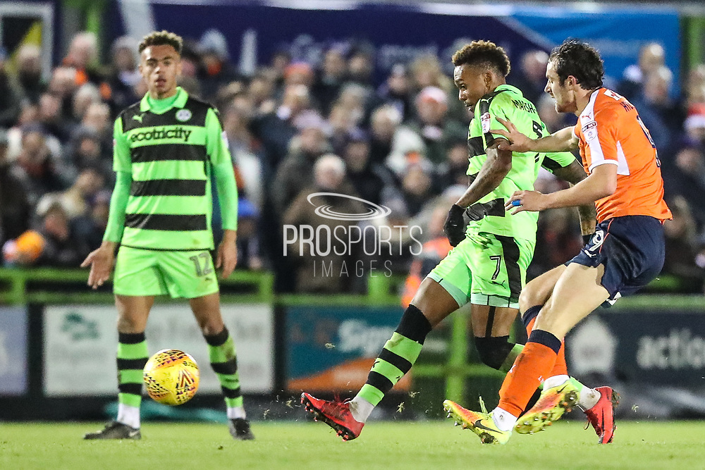 Forest Green Rovers Keanu Marsh-Brown(7) plays the ball forward during the EFL Sky Bet League 2 match between Forest Green Rovers and Luton Town at the New Lawn, Forest Green, United Kingdom on 16 December 2017. Photo by Shane Healey.