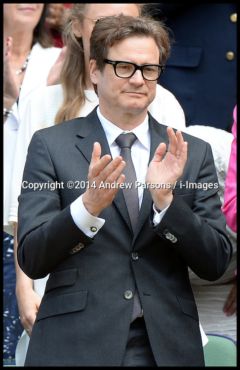 Image ©Licensed to i-Images Picture Agency. 03/07/2014. London, United Kingdom. Colin Firth in the Royal Box at the  Wimbledon Tennis Championship for Day Ten.  Picture by Andrew Parsons / i-Images