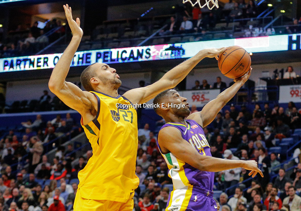 Feb 5, 2018; New Orleans, LA, USA; Utah Jazz center Rudy Gobert (27) blocks a shot by New Orleans Pelicans guard Ian Clark (2) during the first quarter at the Smoothie King Center. Mandatory Credit: Derick E. Hingle-USA TODAY Sports