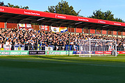 Leeds United fans during the EFL Cup match between Salford City and Leeds United at Moor Lane, Salford, United Kingdom on 13 August 2019.