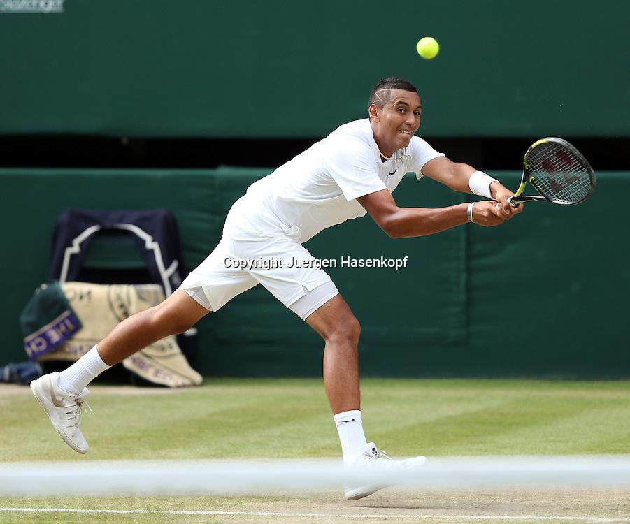Wimbledon Championships 2014, AELTC,London,<br /> ITF Grand Slam Tennis Tournament,<br /> Nick Kyrgios (AUS),Aktion,Einzelbild,<br /> Ganzkoerper,Querformat,