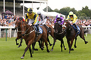 TRIPLE DISTILLED (8) ridden by Rowan Scott and trained by Nigel Tinkler winning The Coopers Marquees Handicap Stakes over 7f (£15,000) and makes it a double on the day for Nigel Tinkler and Rowan Scott during the John Smiths Cup Meeting at York Racecourse, York, United Kingdom on 12 July 2019.