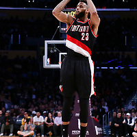 26 March 2016: Portland Trail Blazers guard Allen Crabbe (23) takes a jump shot during the Portland Trail Blazers 97-81 victory over the Los Angeles Lakers, at the Staples Center, Los Angeles, California, USA.