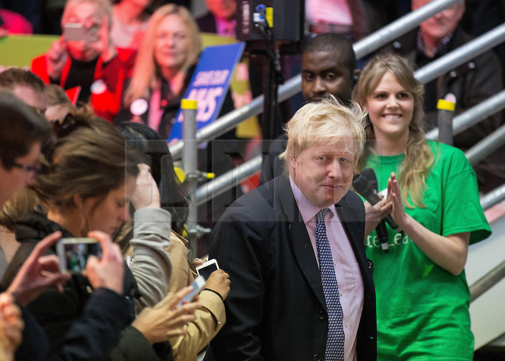 """© Licensed to London News Pictures . 15/04/2016 . Manchester , UK . BORIS JOHNSON arrives to speak at a """" Vote Leave """" rally at Old Granada Studios , in Manchester . Photo credit: Joel Goodman/LNP"""