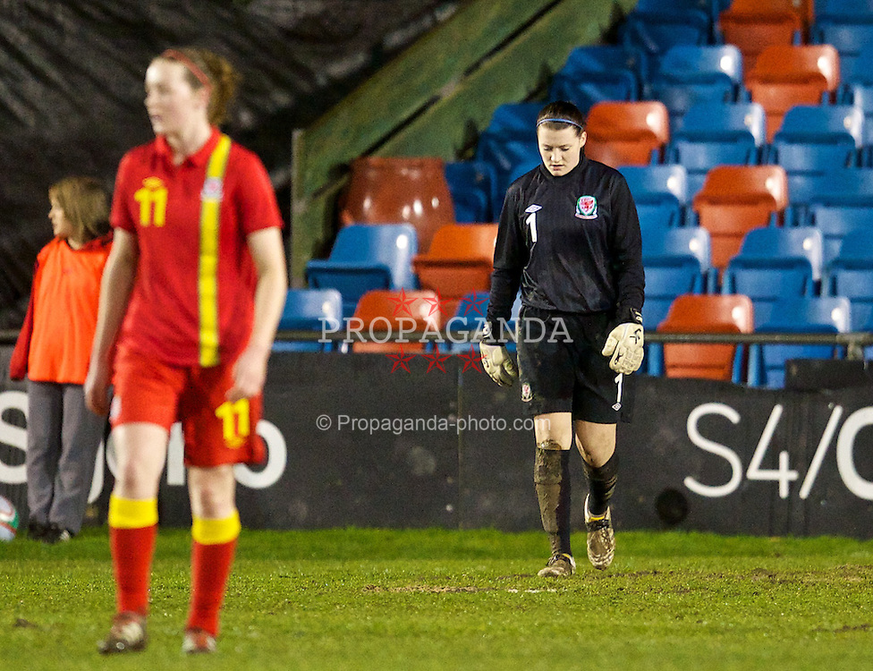 NEWTOWN, WALES - Friday, February 1, 2013: Wales' goalkeeper Alice Evans looks dejected as Norway score the opening goal during the Women's Under-19 International Friendly match at Latham Park. (Pic by David Rawcliffe/Propaganda)
