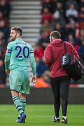 Shkodran Mustafi (Arsenal) following his treatment leaving the pitch during the Premier League match between Bournemouth and Arsenal at the Vitality Stadium, Bournemouth, England on 25 November 2018.