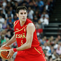 12 August 2012: Spain Rudy Fernandez looks to pass the ball during 107-100 Team USA victory over Team Spain, during the men's Gold Medal Game, at the North Greenwich Arena, in London, Great Britain.