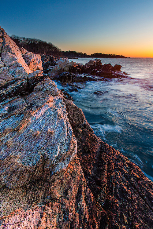 Dawn over the Atlantic Ocean at Fort Foster park in Kittery, Maine.