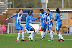 Colchester United's Freddie Sears celebrates with his team mates after scoring. - Photo mandatory by-line: Dougie Allward/JMP - Mobile: 07966 386802 22/03/2014 - SPORT - FOOTBALL - Colchester - Colchester Community Stadium - Colchester United v Bristol City - Sky Bet League One