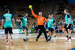 Gorazd Skof, Dejan Bombac, Bregar Uros, Matej Gaber during handball event named Rokometna simfonija organised as a game between Zorman's team and Zvizej's team when Uros Zorman and Luka Zvizej officially retire from their professional handball career, on October 24, 2019 in Arena Zlatorog, Celje, Slovenia. Photo by Grega Valancic/ Sportida