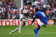 Japan full back Ayumu Goromaru during the Rugby World Cup Pool B match between Samoa and Japan at stadium:mk, Milton Keynes, England on 3 October 2015. Photo by David Charbit.