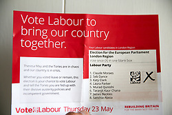 May 5, 2019 - London, UK, United Kingdom - Labour Party EU election campaign leaflet arrive. .The European Parliament elections will take place on Thursday 23 May 2019. (Credit Image: © Dinendra Haria/SOPA Images via ZUMA Wire)