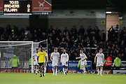 Fulham defender Scott Malone (3) scores a goal 2-0 and celebrates  during the EFL Sky Bet Championship match between Burton Albion and Fulham at the Pirelli Stadium, Burton upon Trent, England on 1st February 2017. Photo by Richard Holmes.