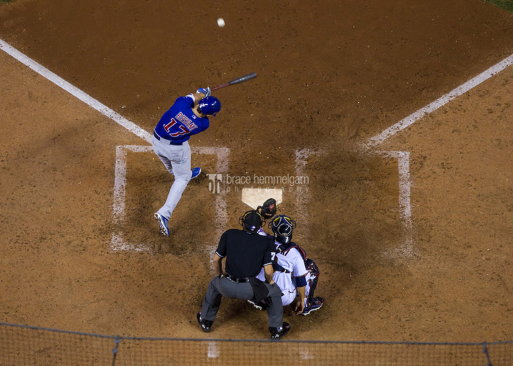 MINNEAPOLIS, MN- JUNE 19: Kris Bryant #17 of the Chicago Cubs bats against the Chicago Cubs on June 19, 2015 at Target Field in Minneapolis, Minnesota. The Twins defeated the Cubs 7-2. (Photo by Brace Hemmelgarn) *** Local Caption *** Kris Bryant
