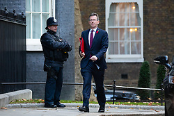 © Licensed to London News Pictures. 29/10/2018. London, UK. Secretary of State for Digital, Culture, Media and Sport Jeremy Wright QC arriving in Downing Street for a cabinet meeting, ahead of the Chancellor of the Exchequer Philip Hammond's autumn budget statement this afternoon. Photo credit : Tom Nicholson/LNP