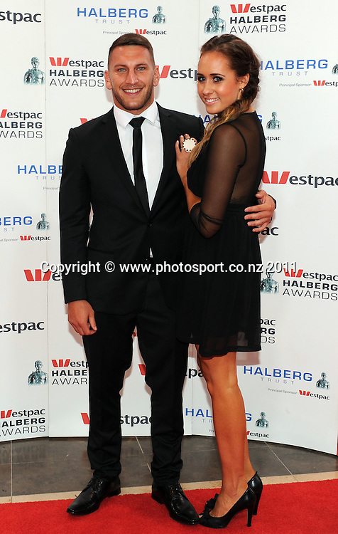 Lewis Brown and Julia Matthews pose for a picture on the red carpet ahead of the Westpac Halberg Awards at the Sky City Convention centre, Auckland, New Zealand on Thursday 9 February 2012. Photo: Andrew Cornaga/Photosport.co.nz