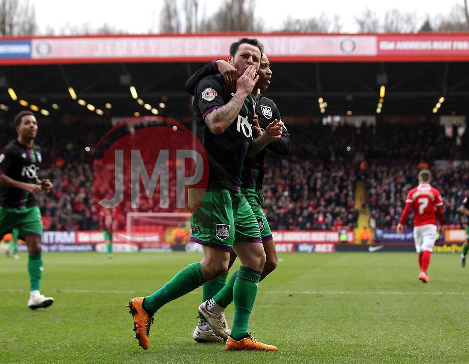 Lee Tomlin of Bristol City celebrates his goal with Bobby Reid of Bristol City - Mandatory byline: Robbie Stephenson/JMP - 06/02/2016 - FOOTBALL - The Valley - Charlton, England - Charlton Athletic v Bristol City - Sky Bet Championship