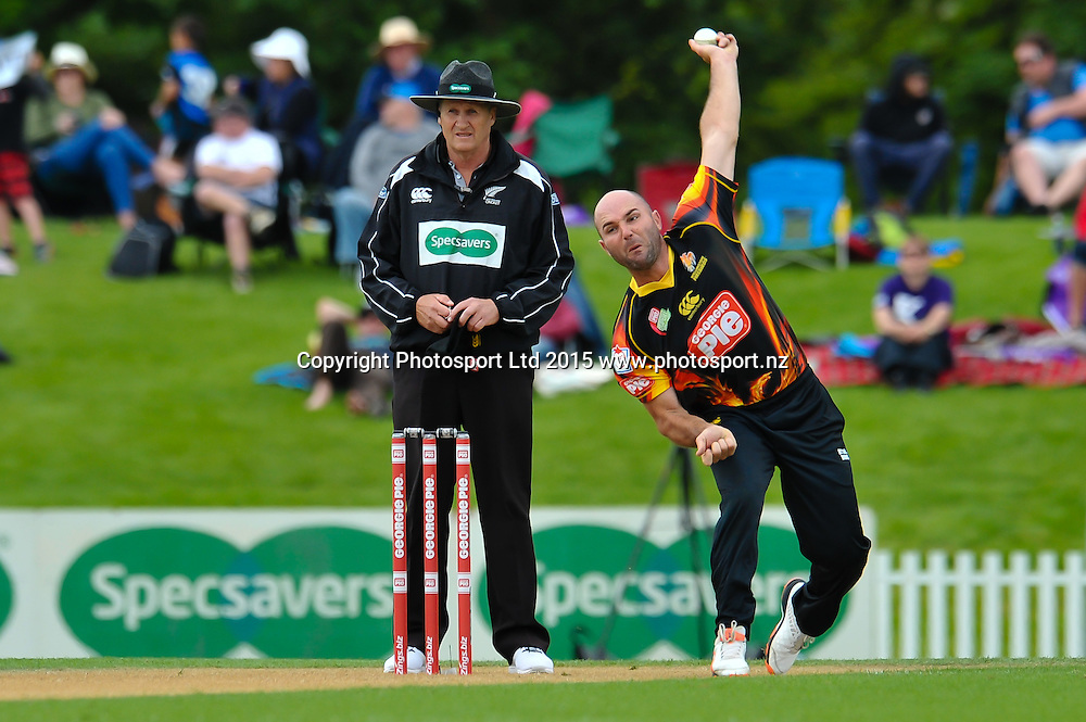 Luke Woodcock of the Wellington Firebirds bowling during the Georgie Pie Super Smash Twenty20 cricket game, Canterbury V Wellington, at Hagley Oval, Christchurch. 8th November 2015. Copyright Photo: John Davidson/www.photosport.nz