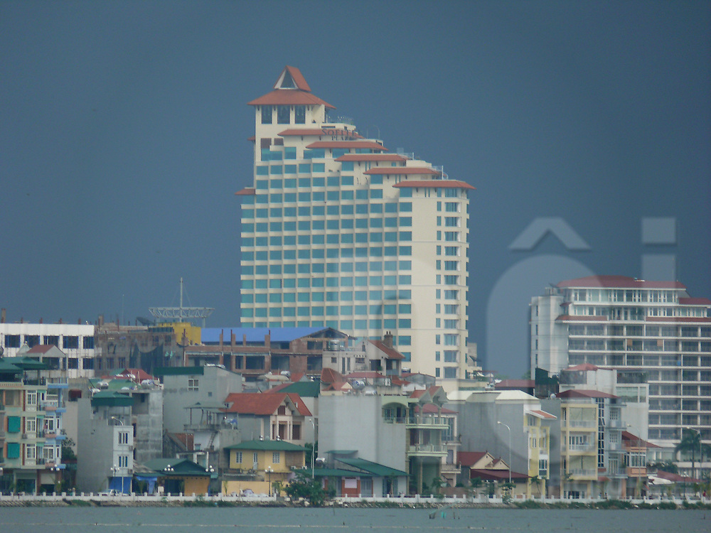 View of the sofitel plaza Hanoi by a stormy day. Vietnam, Asia