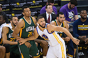 Golden State Warriors center JaVale McGee (1) boxes out Utah Jazz forward Joel Bolomboy (21) late in the game at Oracle Arena in Oakland, Calif., on December 20, 2016. (Stan Olszewski/Special to S.F. Examiner)