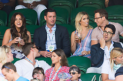 © Licensed to London News Pictures. 08/07/2017. London, UK. VICKY PATTISON, JOHN NOBLE, STACEY SOLOMON and JOE SWASH watch center court tennis on the sixth of the Wimbledon Lawn Tennis Championships. Photo credit: Ray Tang/LNP