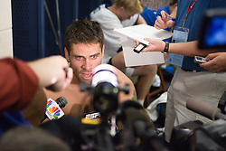 28 May 2007: Duke Blue Devils defenseman Tony McDevitt (44) in the locker room after loosing to the Johns Hopkins Blue Jays 11-12 in the NCAA Championship at M&T Stadium in Baltimore, MD.