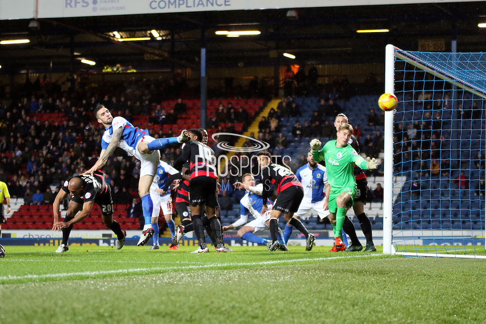 Blackburn miss an early chance during the Sky Bet Championship match between Blackburn Rovers and Queens Park Rangers at Ewood Park, Blackburn, England on 12 January 2016. Photo by Pete Burns.