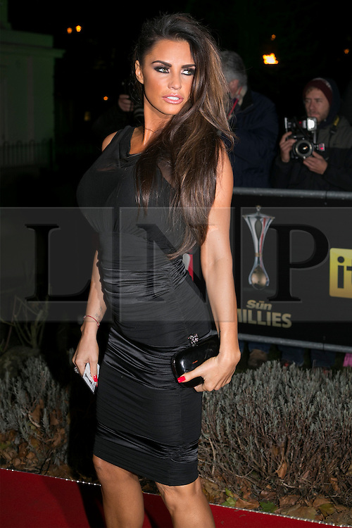 © licensed to London News Pictures. London, UK 06/12/2012. Katie Price attending The Sun Military Awards at Imperial War Museum. Photo credit: Tolga Akmen/LNP