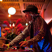 November 16, 2012 - New York, NY :  DJ Aki warms up the crowd as he opens for Japanese DJ and vocalist Oorutaichi at the Japan Society in Manhattan on Friday night. **DJ Aki also performed between Oorutaichi's sets, as well as after the main performance.) CREDIT: Karsten Moran for The New York Times