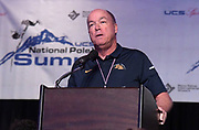 Jan 18, 2019; Sparks, NV, USA; Greg Hull speaks at the UCS Spirit National Pole Vault Summit general assembly at the Nugget Casino Resort.